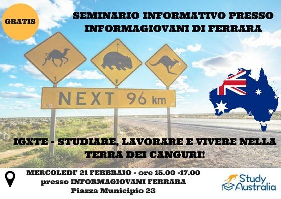 Studiare, lavorare e vivere in Australia. SEMINARIO a Ferrara.