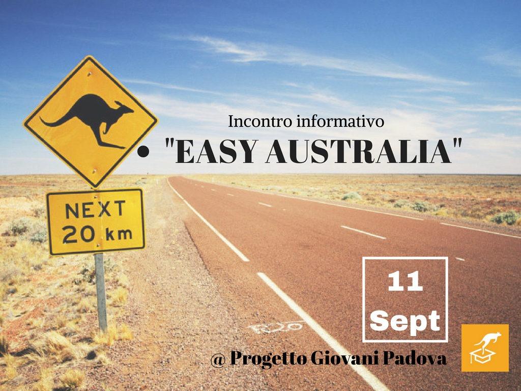 """SAVE THE DATE! 11 settembre. Incontro informativo """"EASY AUSTRALIA"""" a Padova"""