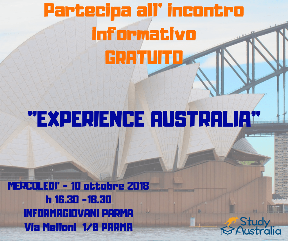 "SAVE THE DATE! 10 OTTOBRE a PARMA. Partecipa a ""EXPERIENCE AUSTRALIA""."