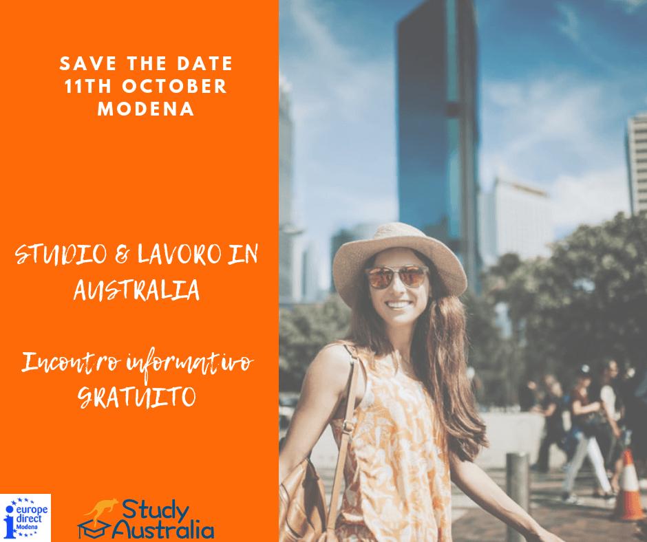 """SAVE THE DATE! 11 OTTOBRE a MODENA. Incontro """"STUDIO & LAVORO"""" in Australia."""