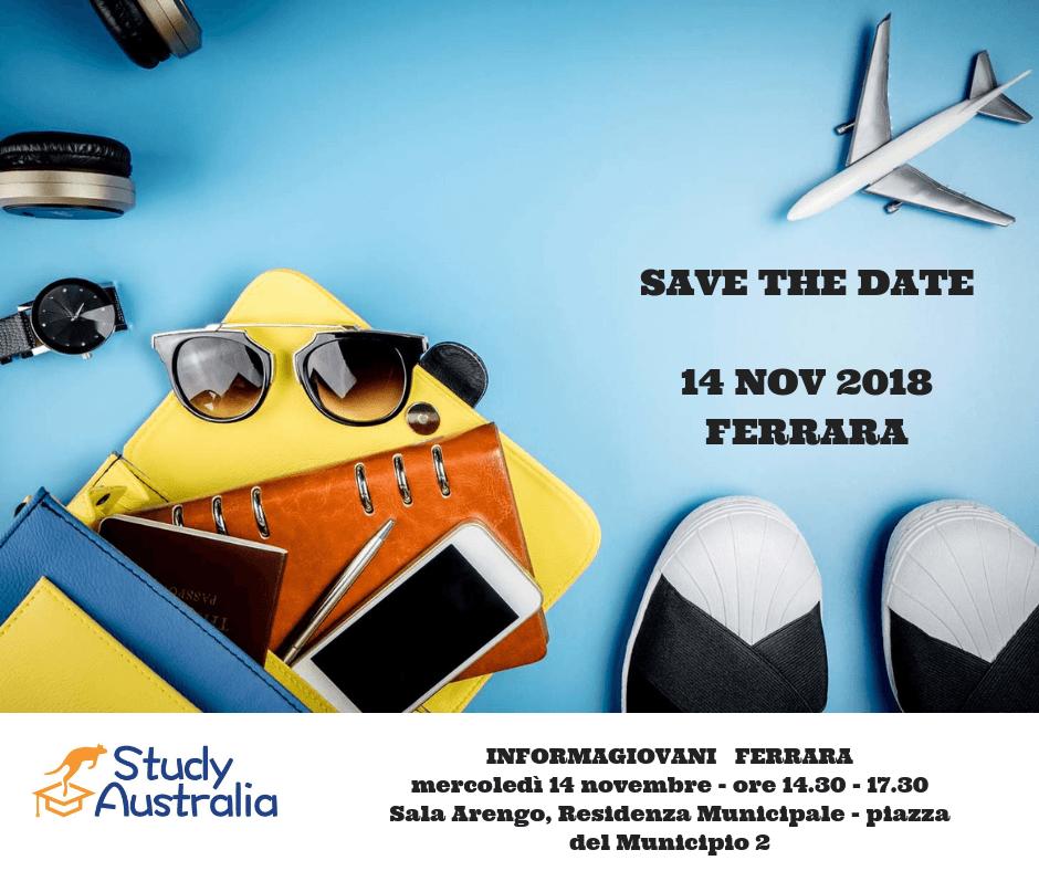 "SAVE THE DATE. 14 Novembre – Ferrara. Incontro informativo IGXTE "" Australia"""