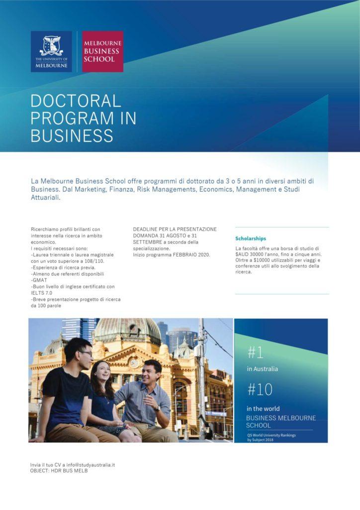Opportunità di PhD in Australia. Aperte le selezioni per febbraio 2020.