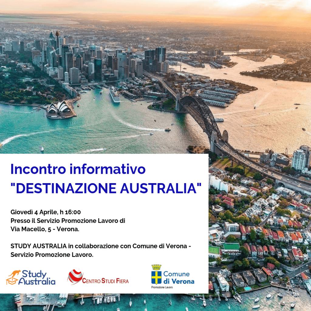 Il 4 Aprile, seminario STUDY AUSTRALIA a Verona.