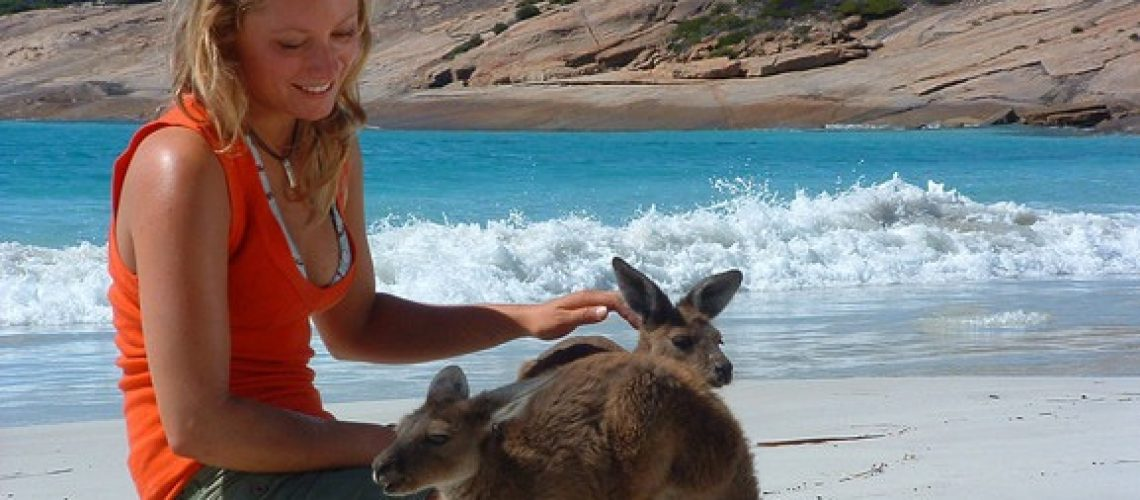 Kangaroo-and-girl-Esperance